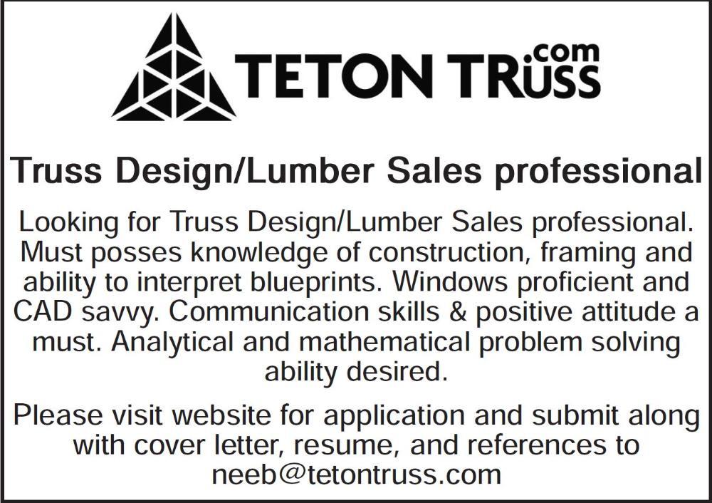 Truss Design Technician And Lumber Sales